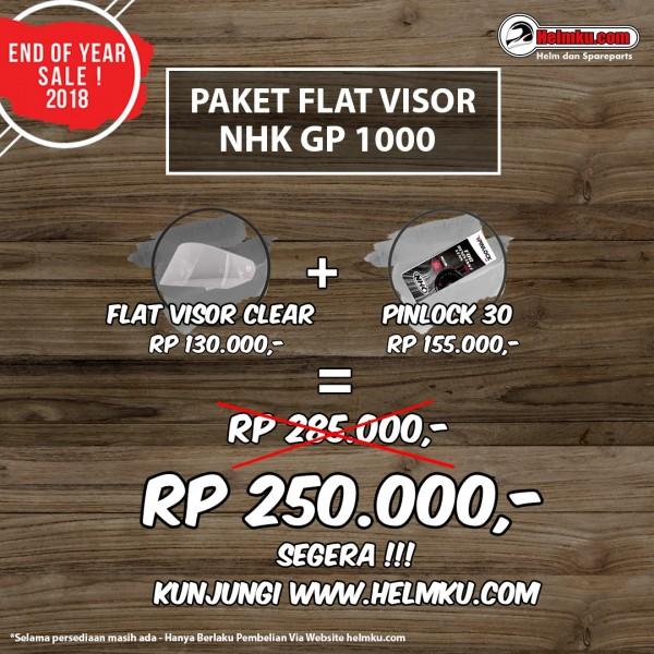PROMO END YEAR SALE - PAKET FLAT VISOR CLEAR NHK GP1000 + PINLOCK 30